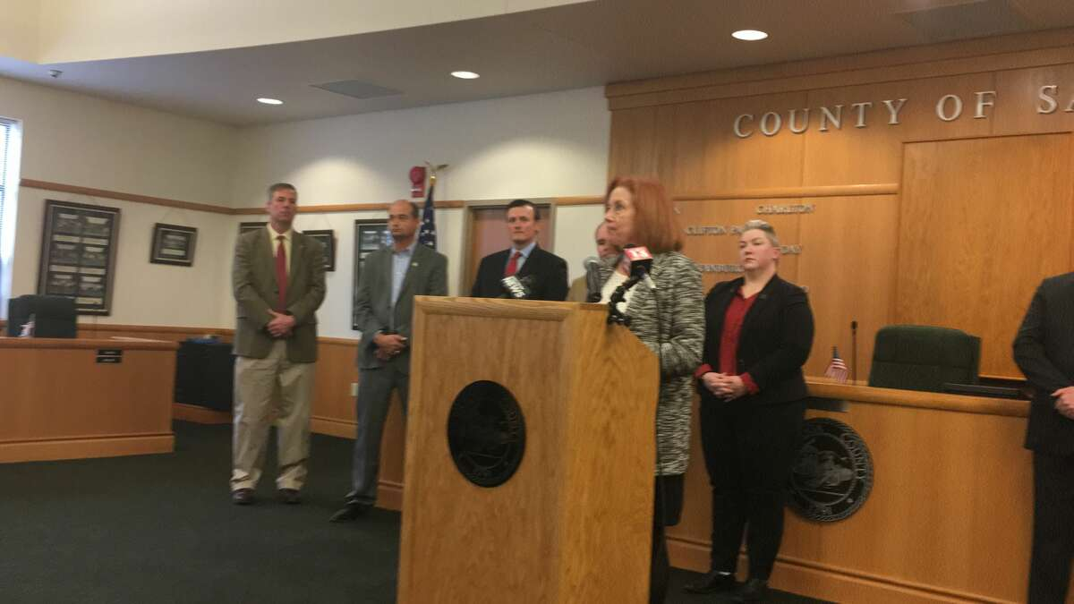 Saratoga County Director of Public Health Cathi Duncan speaks at a press conference in the county office building in Ballston Spa on Tuesday, March 17, 2020. She confirmed there are now 20 cases of COVID-19 in the county.