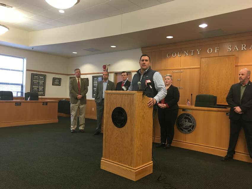 Saratoga County Commissioner of Emergency Management Services speaks about the county's preparedness for COVID-19 at a press conference at the county office building in Ballston Spa on March 17, 2020.
