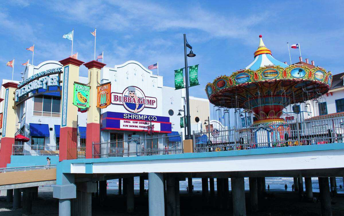 File photo shows the Bubba Gump Shrimp Co. Restaurant & Market at Galveston Island Historic Pleasure Pier. The city of Galveston will be ordering bars, restaurants and amusement parks to close indefinitely due to the coronavirus outbreak, city officials said on March 17, 2020.