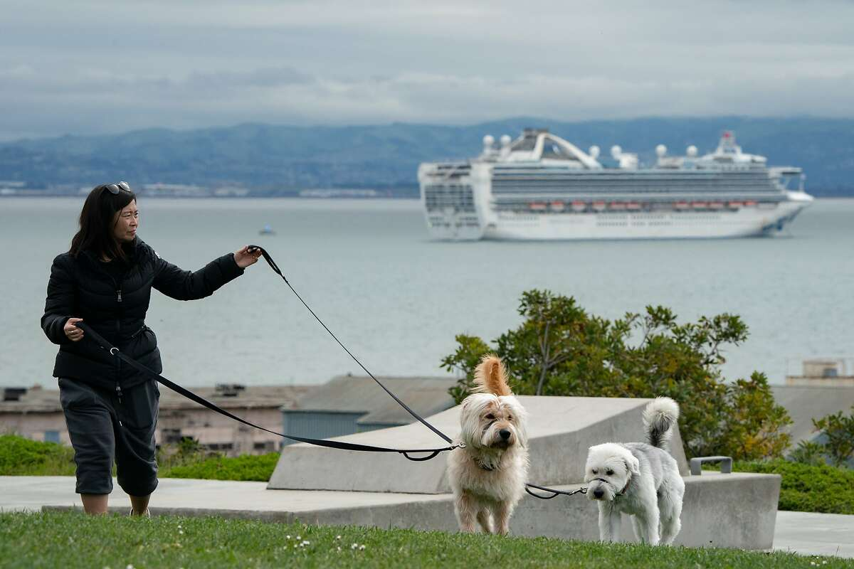 Helen Aumann walks her dogs Ghostbuster, left, and Hazel with the Grand Princess anchored off Hunters Point on Monday, March 16, 2020, in Oakland, Calif. It is quarantined because of an outbreak of the coronavirus.