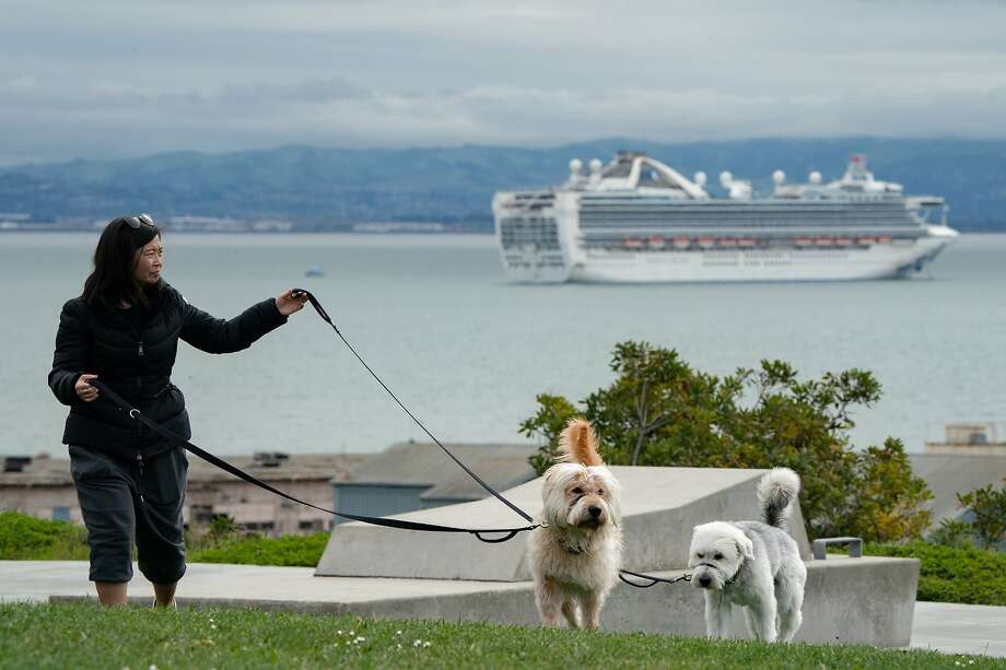 Helen Aumann walks her dogs Ghostbuster, left, and Hazel with the Grand Princess anchored off Hunters Point on Monday, March 16, 2020, in Oakland, Calif.  It is quarantined because of an outbreak of the coronavirus. Photo: Paul Kuroda / Special To The Chronicle
