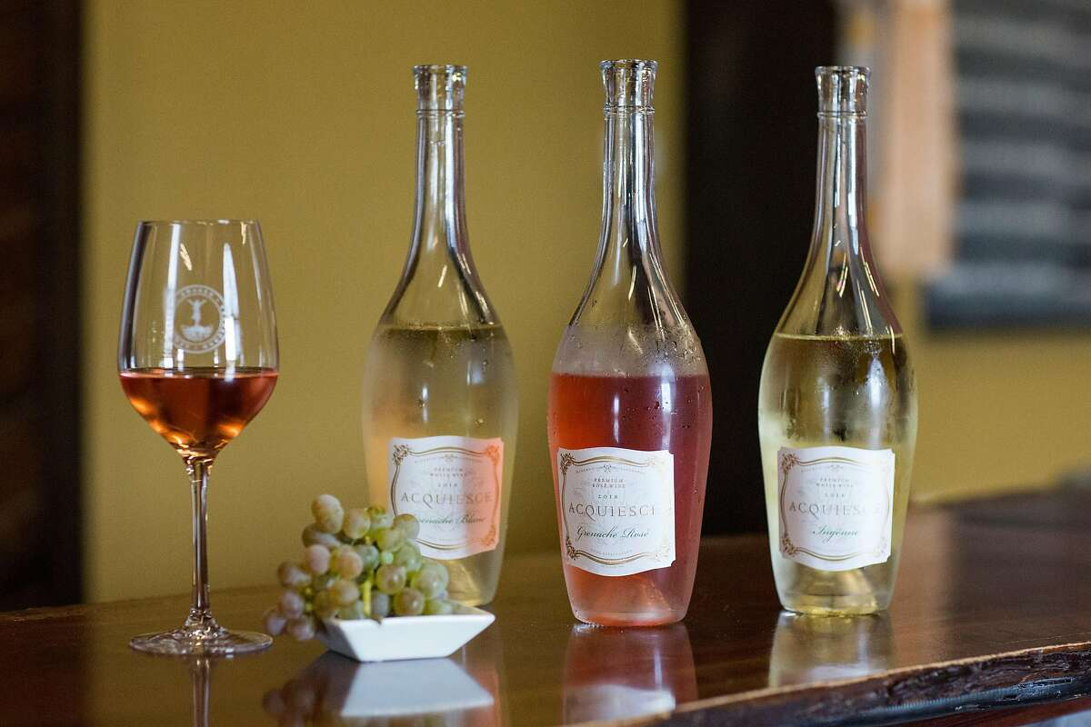 Wines are seen on display at Acquiesce Winery in Acampo, Calif., on Friday, September 27, 2019. The winery produces unique white and rose wines such as Grenache Blanc, Picpoul Blanc, Roussanne, Viognier, Clairette Blanche, Bourboulenc and Grenache RosŽ.