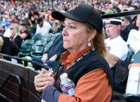 Giants employee Claudette Evdokimoff tears up during Giant's managing coach Bruce Bochy final farewell speach at Oracle Park on September 29, 2019 in San Francisco, Calif.