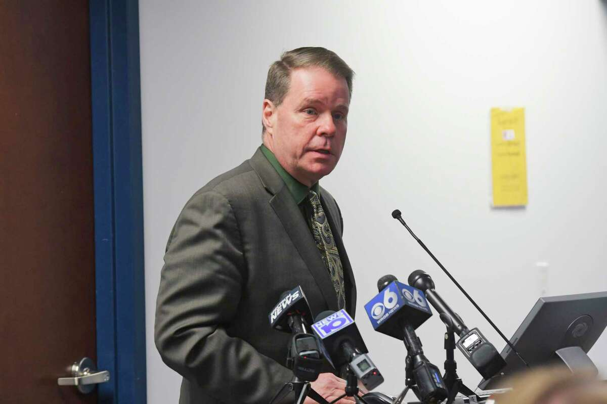 Jeff Simons, East Greenbush School superintendent, speaks at a press conference with Rensselaer County officials and the county's school officials on Tuesday, March 17, 2020, in Castleton-on-Hudson, N.Y. in March 2020 when schools were closed due to the coronavirus pandemic. Now the district is among those in the Capital Region that the state says haven't completed their reopening plans, which the district says is a misunderstanding about dual forms that needed to be filed with the state's education and health departments. The district said the forms have now been filed. (Paul Buckowski/Times Union)