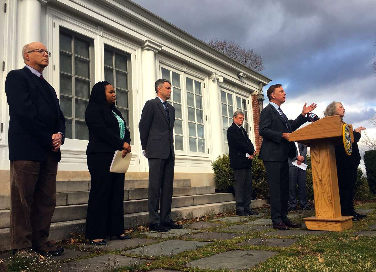 Gov. Ned Lamont speaks at a news conference outside the Governor's Residence in Hartford, Conn. Tuesday, March 17, 2020.