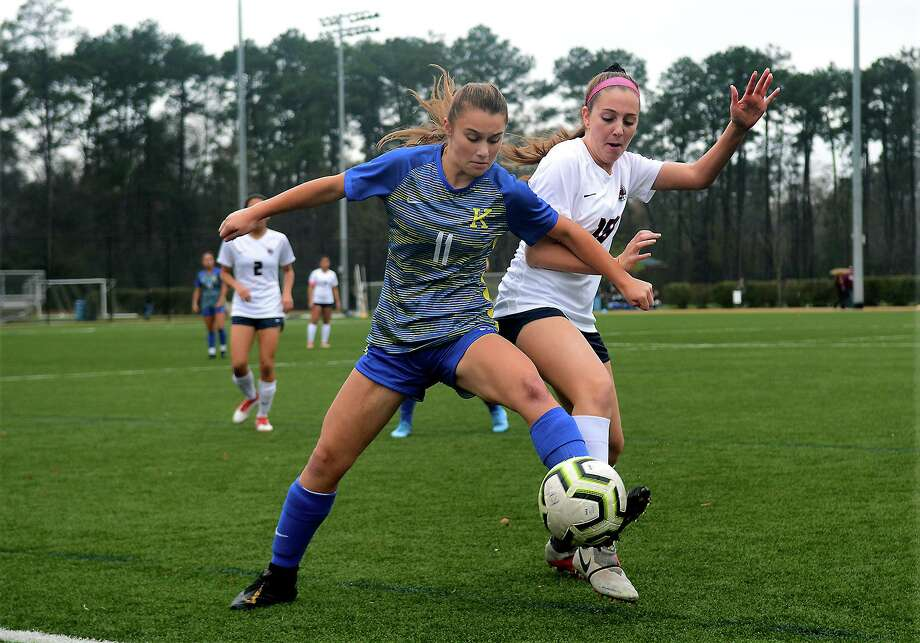 Klein freshman Maddie Nissen (11) works the ball away from Katy Tompkins senior midfielder Lauryn Wild during their matchup at the Lady Highlander Invitational at Gosling Sports Park in The Woodlands on Jan. 2, 2020. Photo: Jerry Baker, Houston Chronicle / Contributor / Houston Chronicle