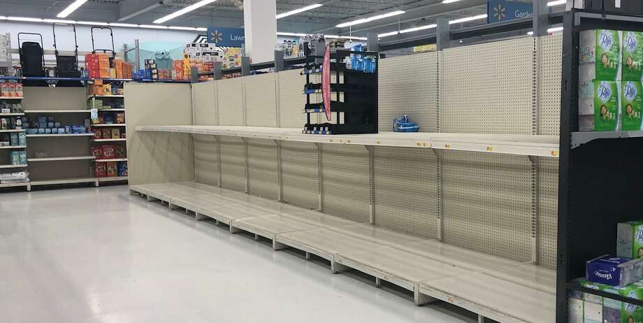 There was no sign of toilet paper on the shelves of Walmart in New Milford March 8, a result of customers planning for quarantine, a result of the novel coronavirus outbreak. Although store shelves are replenished, products are sold out again quickly. Photo: Deborah Rose / Hearst Connecticut Media