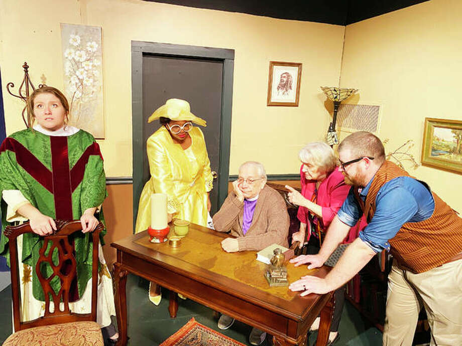 """The cast of Alton Little Theater's """"Holy Laughter,"""" a show that was officially closed before it was open, due to nationwide concerns surrounding the coronavirus pandemic. Photo: Photo Credit Lee Cox
