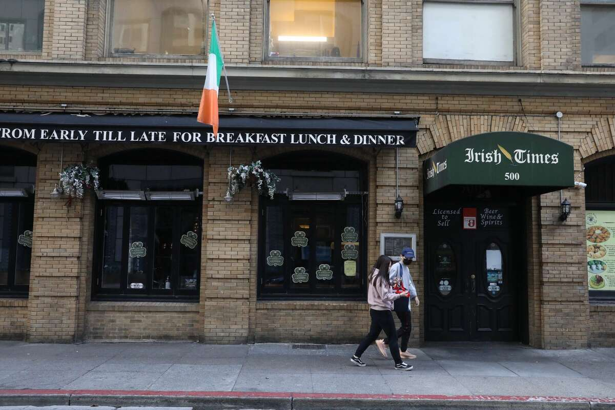 The exterior of Irish Times in San Francisco's Financial District. Bars throughout San Francisco were closed on Tuesday per a shelter-in-place order issued by Mayor London Breed that called for the closure of all bars in San Francisco. Tuesday also happened to be St Patrick's Day, one of the biggest bar holidays of the year.