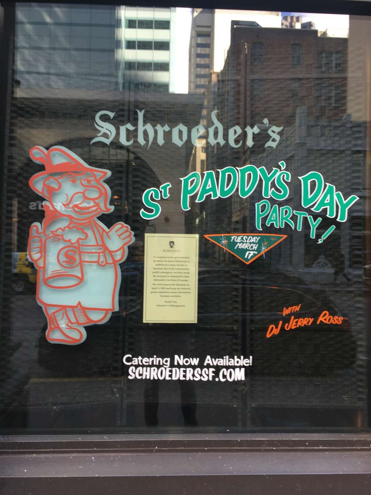 FILE - The exterior of German staple Schroeder's in San Francisco's Financial District in March 2020.
