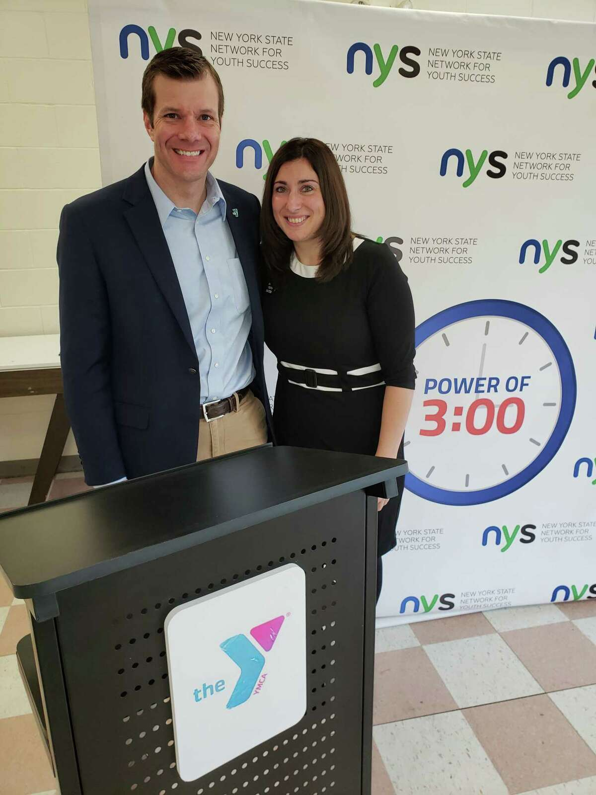 Kyle Stewart, Executive Director, Alliance of NYS YMCAs and and Kelly Sturgis, Executive Director of the NYS Network for Youth Success, attend the March legislative breakfast. (Photo provided)
