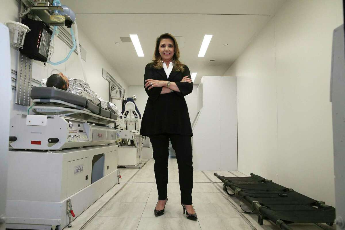 Knight Aerospace has started building flying hospital rooms to help governments respond to medical crises like COVID-19. CEO Bianca Rhodes (pictured) said their Universal Patient Modules are better designed and built to handle the rigors of flight and are customized to the needs of their clientele. Knight Aerospace, headquartered at Port San Antonio, recently moved into a larger facility to ramp up production of their modules. One of their modules - depending upon customization - takes about four to six months to complete and shipped to the buyer according to Rhodes.