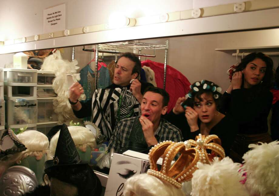 "From left, Josh Powell, Chris Behmke, Katheryne Penny and Sandra Marante get ready for ""Forbidden Broadway."" Photo: Rachel Smith"