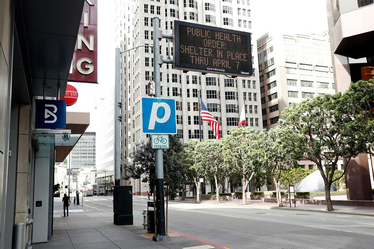 A shelter-in-place order sign on Kearney Street in San Francisco on March 17, 2020, the first day the orders went into effect.