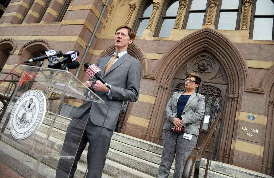 In this file photo, New Haven Mayor Justin Elicker holds a press conference on the steps outside of City Hall in New Haven on March 17, 2020. Photo: Arnold Gold / Hearst Connecticut Media File Photo / New Haven Register