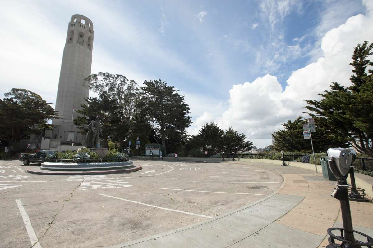 The parking lot was mostly empty at Coit Tower. San Francisco had its first shelter-in-place day on March 17th, 2020 in response to the spread of the COVID-19 coronavirus.