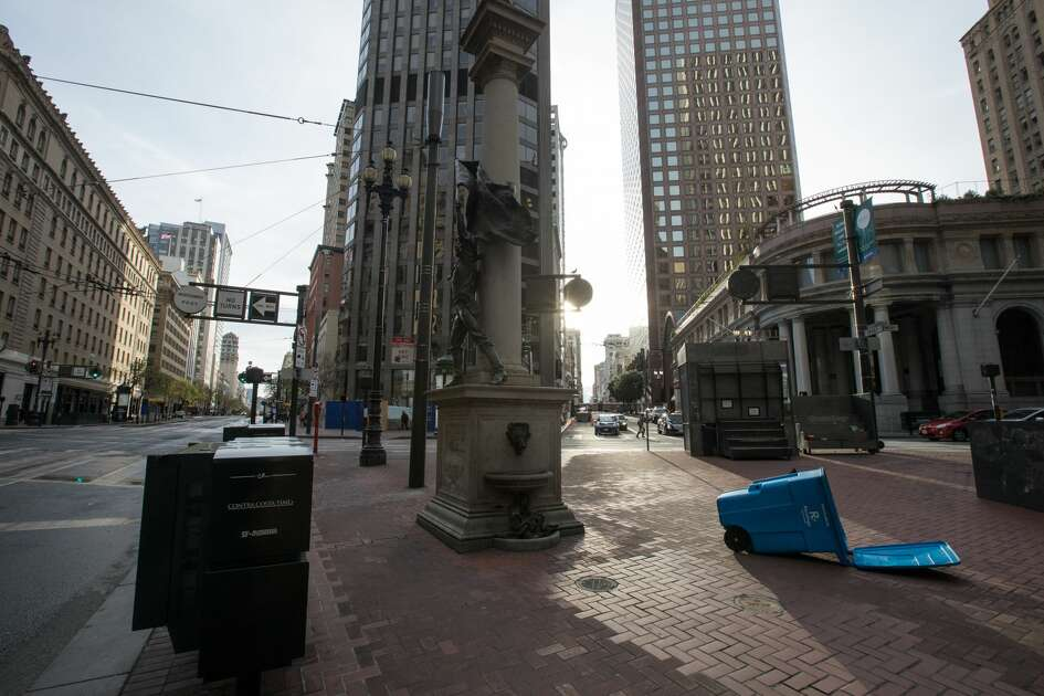 The streets were empty at the corner of Montgomery and Market Streets during the evening commute. San Francisco had its first shelter-in-place day on March 17th, 2020 in response to the spread of the COVID-19 coronavirus.