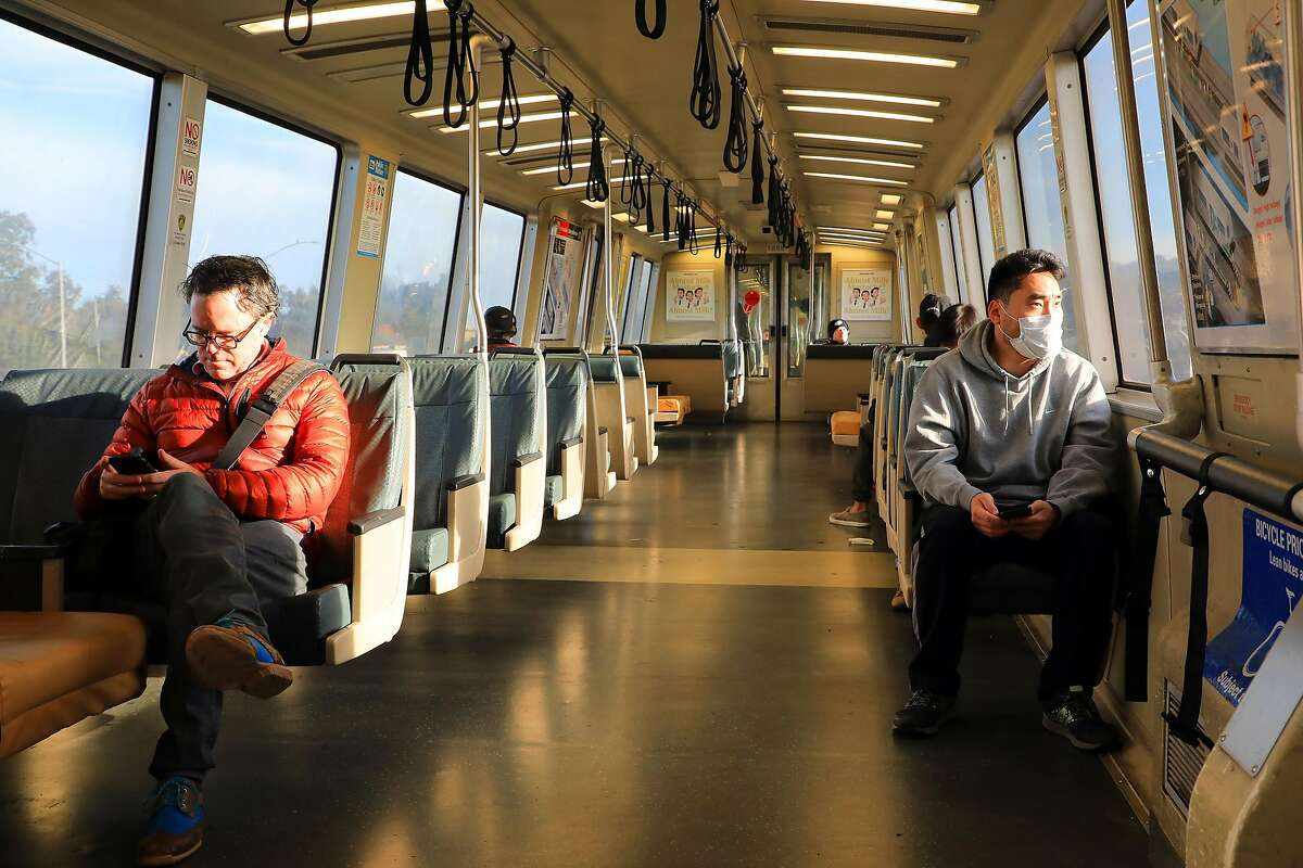 A San Francisco-bound BART train during Tuesday morning's rush hour in Oakland, Calif. on March 17, 2020. The most ambitious experiment in America to stop the spread of the coronavirus, a shelter-in-place order for almost every resident was underway for seven million people living around the San Francisco Bay.