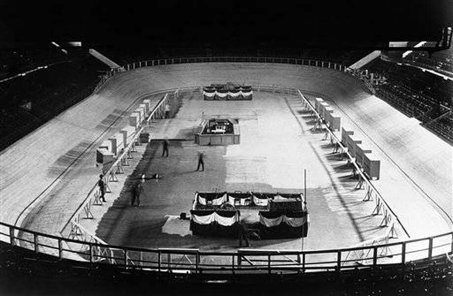 An interior view of Madison Square Gardens Arena, known as MSG or The Garden in New York City, USA on March 18, 1930. (AP Photo)