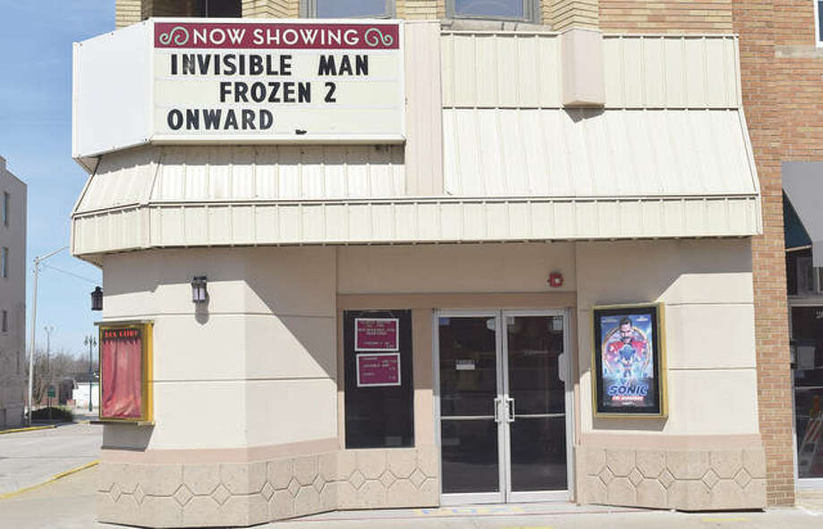 The Illinois Theatre sits quiet after closing Tuesday as the COVID-19 coronavirus pandemic prompted more and more people to avoid large groups. RMC Stadium Cinemas in South Jacksonville also has closed. Photo: Marco Cartolano | Journal-Courier