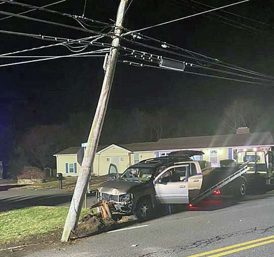 Crews from the Trumbull Volunteer Fire Co. responded to Reservoir Avenue on Tuesday, March 7, 2020 night after an SUV crashed into a utility pole. Photo: Trumbull Volunteer Fire Co. Photo