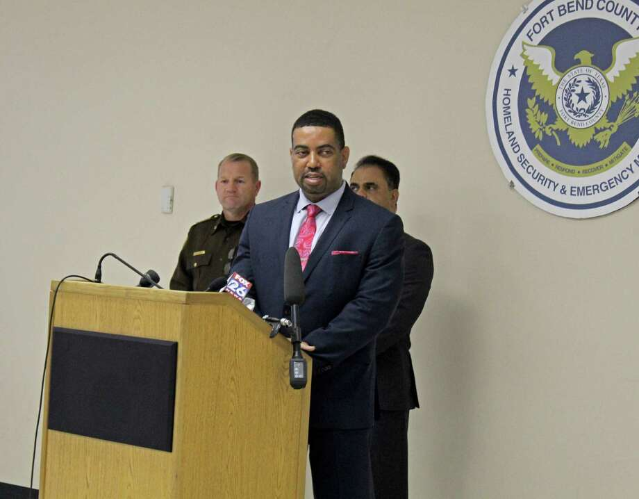 "Fort Bend County District Attorney Brian Middleton speaks during a press conference held Tuesday, March 17. ""This crisis is severe. Anxiety is high and the last thing we need to be worried about is criminal conduct. People need to stay in their homes where they are protected,"" Middleton said. ""This is a warning to criminals: if you come to our county and you break the law, you will face the harshest penalty allowed by law."" Photo: Kristi Nix"