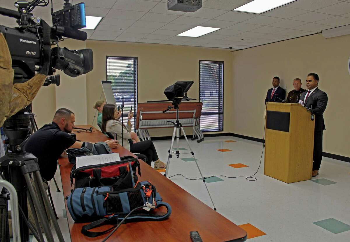 Fort Bend County Judge KP George speaks during a press conference held Tuesday, March 17.