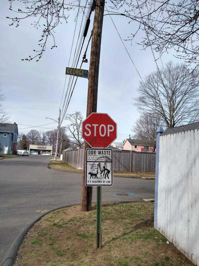 A battered sign in East Haven. Photo: Contributed Photo