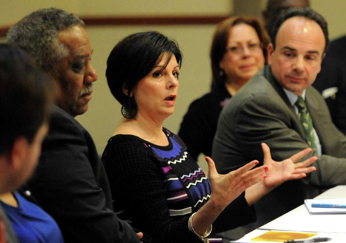 Rina Bakalar makes a point during a meeting with Mayor Joe Ganim and the Transition Task Force for the city of Bridgeport. Bakalar and the town's Economic Development Commission are working on creating a list of available business services for local merchants.