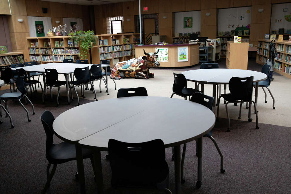 STAMFORD, - MARCH 17: A library sits empty at the KT Murphy Elementary School on March 17, 2020 in Stamford, Connecticut. Stamford Public Schools closed last week to help slow the spread of the COVID-19.