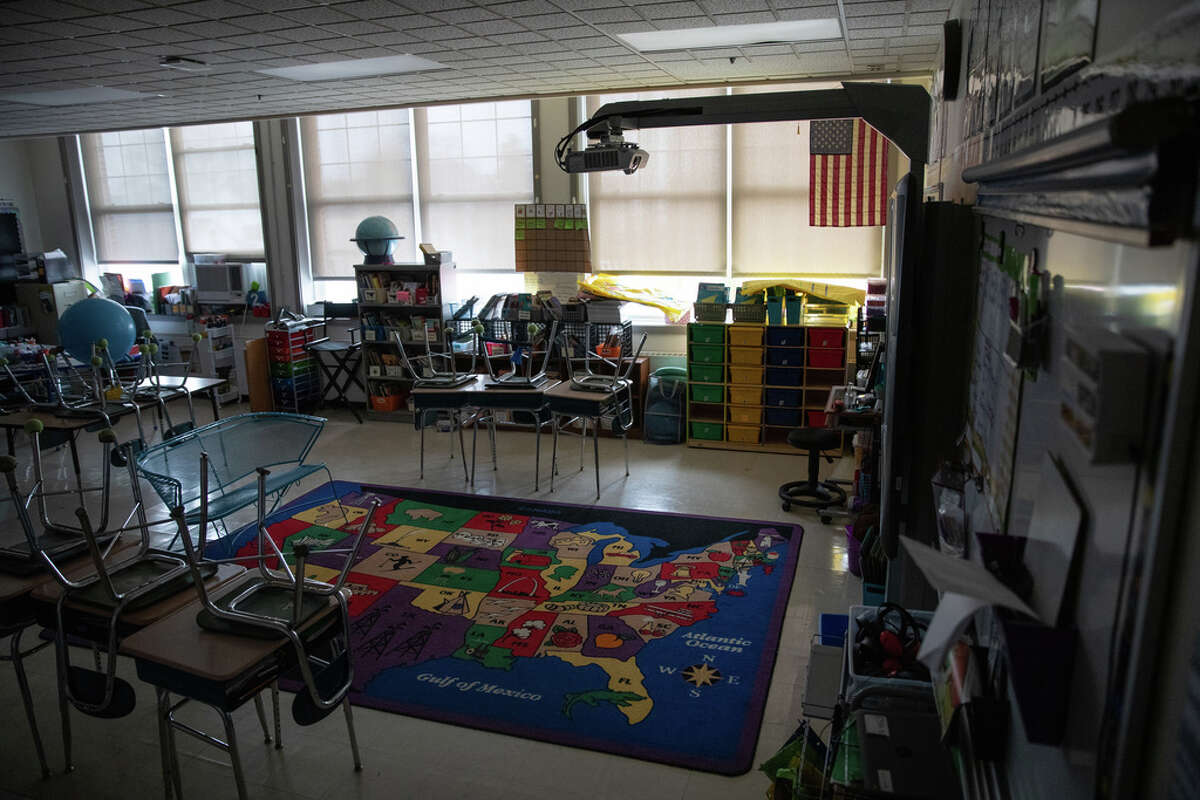 A class sits empty at the KT Murphy Elementary School on March 17, 2020 in Stamford, Conn. Stamford Public Schools closed last week to help slow the spread of the COVID-19.