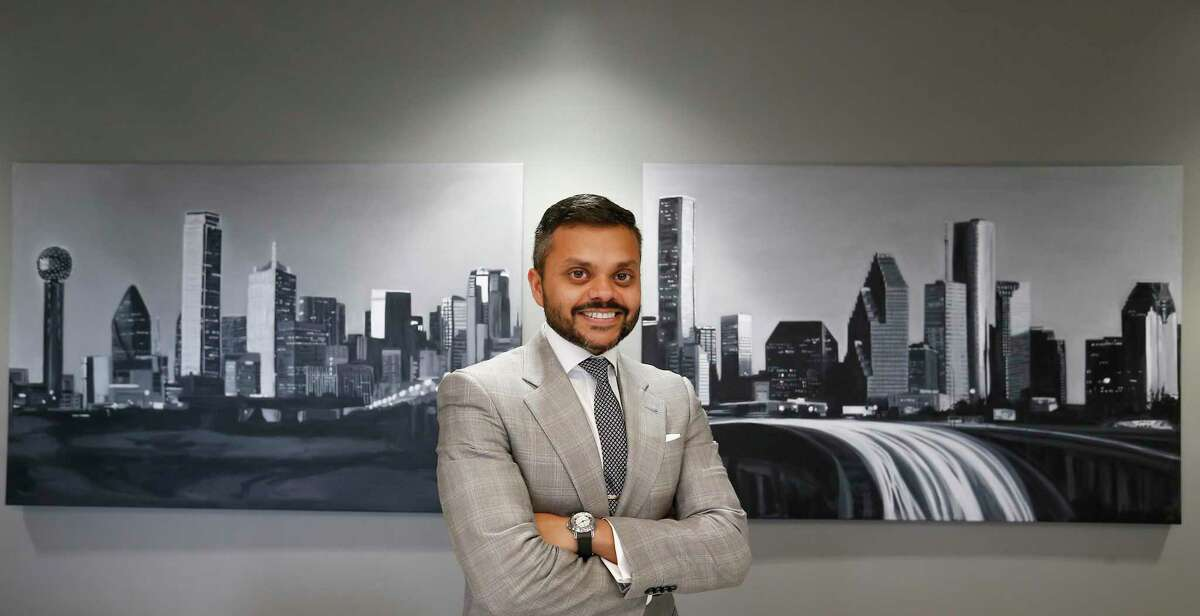Swapnil Agarwal in his office Tuesday, Sept. 11, 2018, in Houston. Agarwal went from delivering pizza flyers as a kid to Houston area apartments to owning one of the largest multifamily investment firms in the state of Texas, whose assets include some of the same apartment buildings where he once delivered fliers.