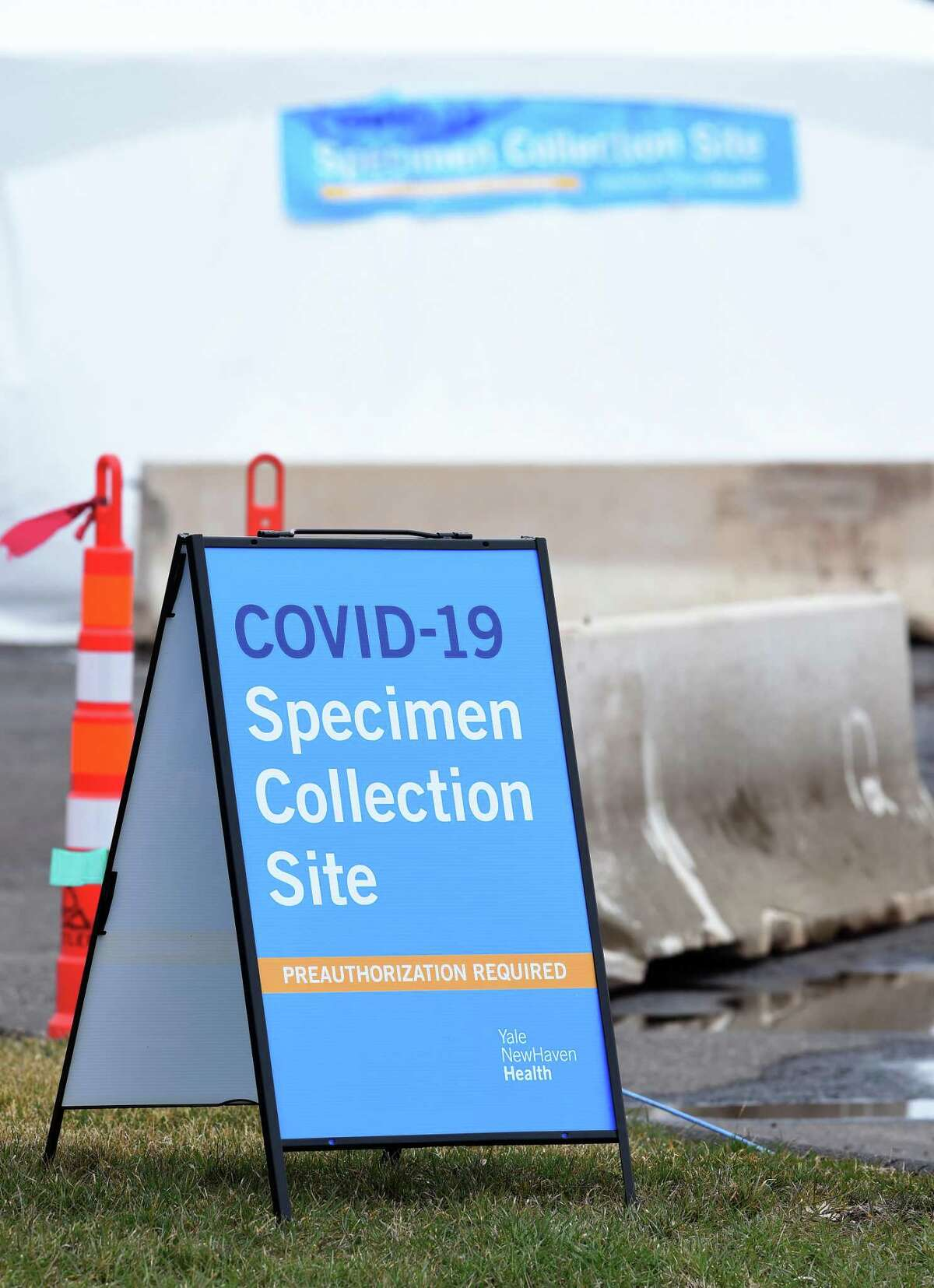 The entrance to a COVID-19 Specimen Collection Site at the Yale New Haven Health location at 150 Sargent Drive in New Haven on March 17, 2020. Patients with a physician's order for a Covid-19 test can be scheduled for appointments at the outdoor collection location.