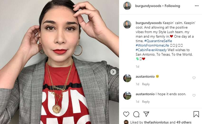Texas Fashion Industry and Fashion Week President and Style Lush Editor Burgundy Woods  The busy fashionista is still looking stylish while holding down the fort from home.