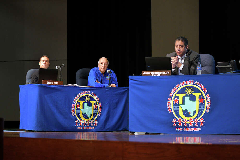United ISD Attorney Juan J. Cruz, Superintendent Roberto J. Santos and Board President Javier Montemayor, were present at the United ISD Student Activity Complex auditorium where they participated in a meeting. Among the items discussed was the district's actions concerning the&sp;Coronavirus (COVID-19). Photo: Cuate Santos/Laredo Morning Times