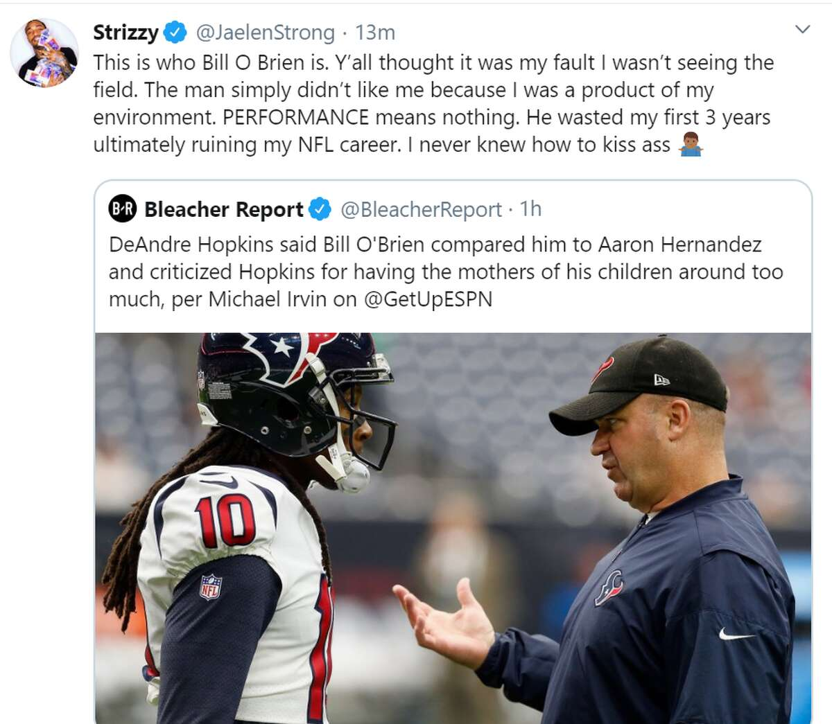 Former Texans receiver Jaelen Strong.
