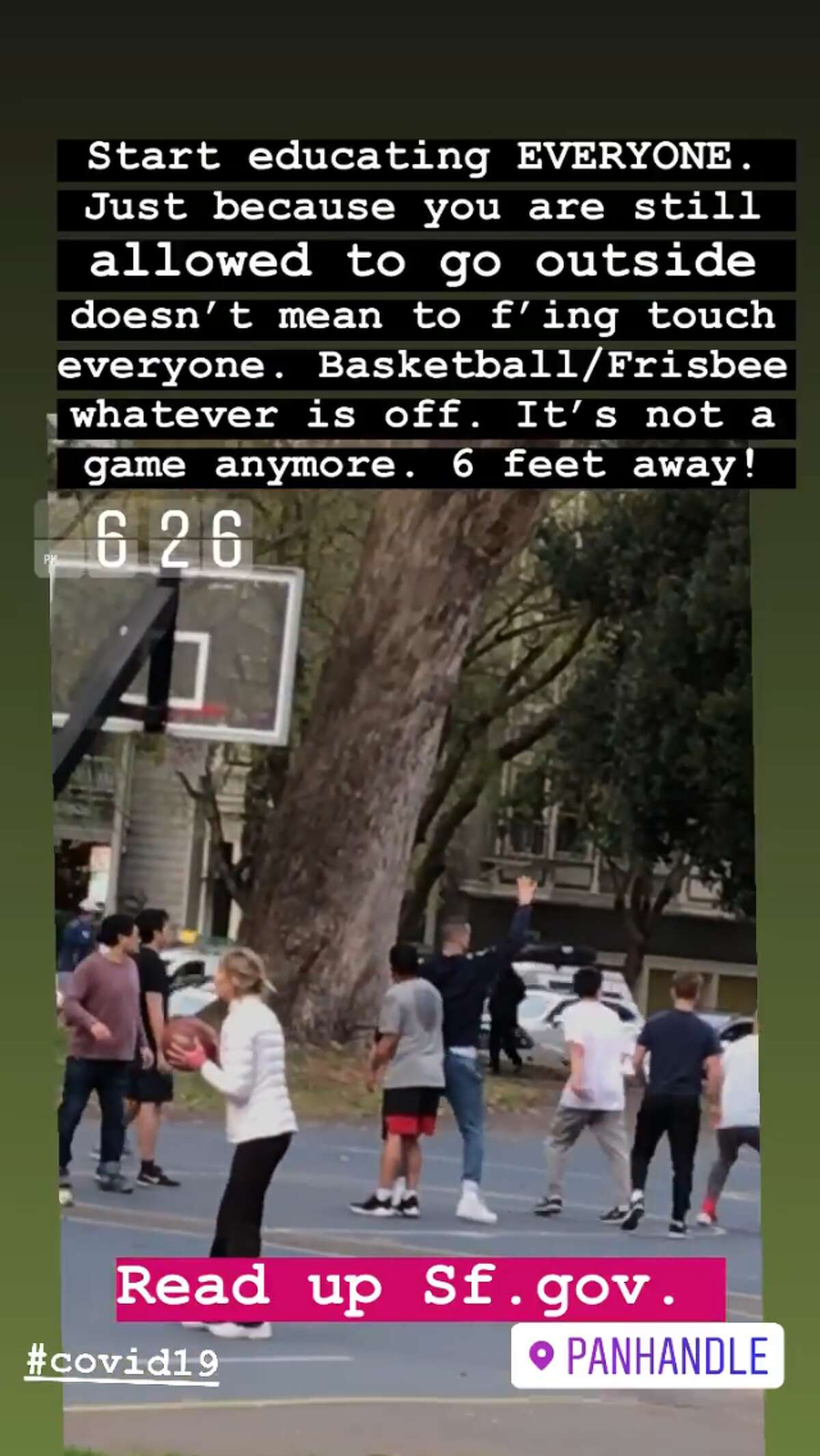 captain.ronn share this Instagram story of people playing basketball in close contact in the Panhandle in San Francisco on Tuesday evening. San Francisco had its first shelter-in-place day on March 17th, 2020 in response to the spread of the COVID-19 coronavirus.