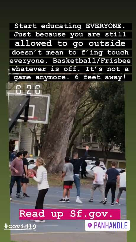 captain.ronn share this Instagram story of people playing basketball in close contact in the Panhandle in San Francisco on Tuesday evening. San Francisco had its first shelter-in-place day on March 17th, 2020 in response to the spread of the COVID-19 coronavirus. Photo: Instagram / Captain.ronn