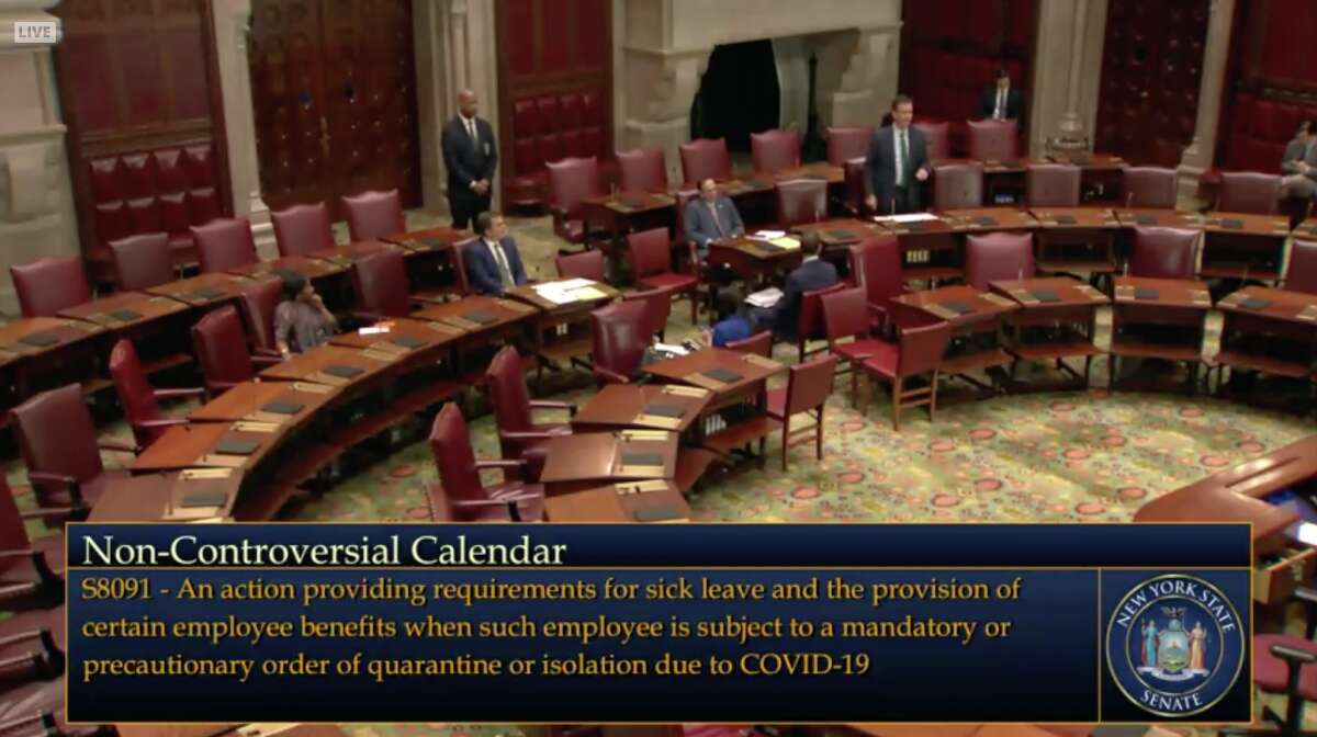The New York State Senate convened in a largely empty chamber on Wednesday, March 18, 2020, to pass three bills amid a coronavirus pandemic.