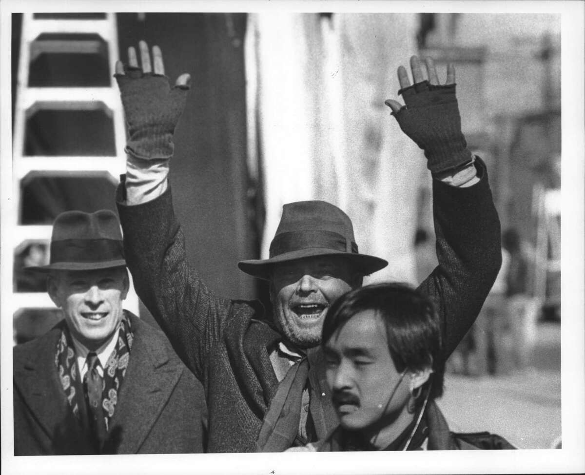 """Jack Nicholson, between filming scenes of """"Ironweed"""" in Albany in February 1987, strikes a pose that might have been inspiration for one of the film's producers in describing the Capital City a year later. (Skip Dickstein/Times Union Archive)"""