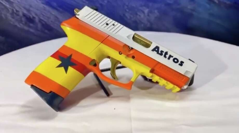 HTX Tactical unveiled its latest custom firearm: A Houston Astros World Series-themed pistol. Photo: Instagram / @HTXTactical