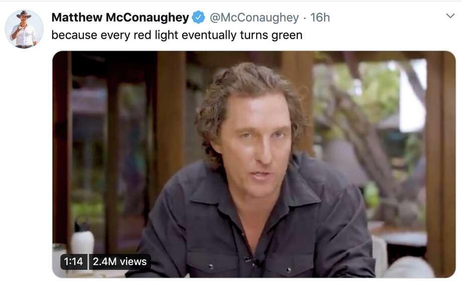 Matthew McConaughey shares an inspirational message on COVID-19 via Twitter. Photo: Twitter / @McConaughey