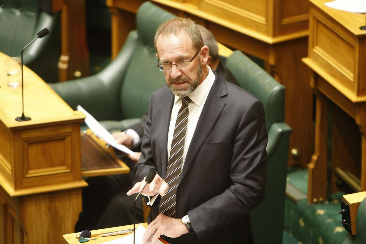 New Zealand Justice Minister Andrew Little speaks to lawmakers in Wellington, New Zealand Wednesday, March 18, 2020. Lawmakers voted in favor of a landmark bill that treats abortion as a health issue rather than a crime. (AP Photo/Nick Perry)