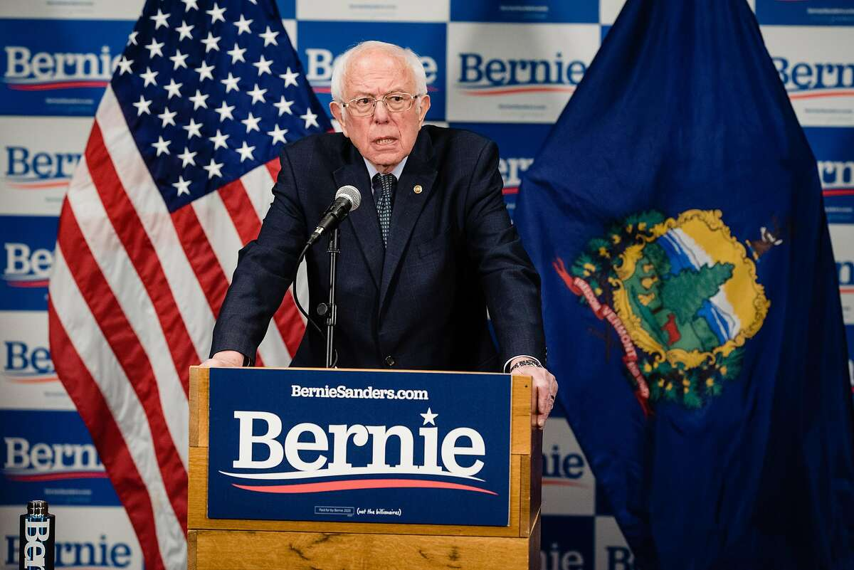 Sen. Bernie Sanders (I-Vt.), a candidate for the Democratic nomination for president, speak in Burlington, Vt., March 12, 2020. After delivering a speech last week that appeared aimed at de-escalating the primary battle against former Vice President Joe Biden, Sanders laced into his opponent on Sunday night with a vigor that signaled that the fight - if not for delegates, then for the soul of the Democratic Party - was not over. (Jacob Hannah/The New York Times)
