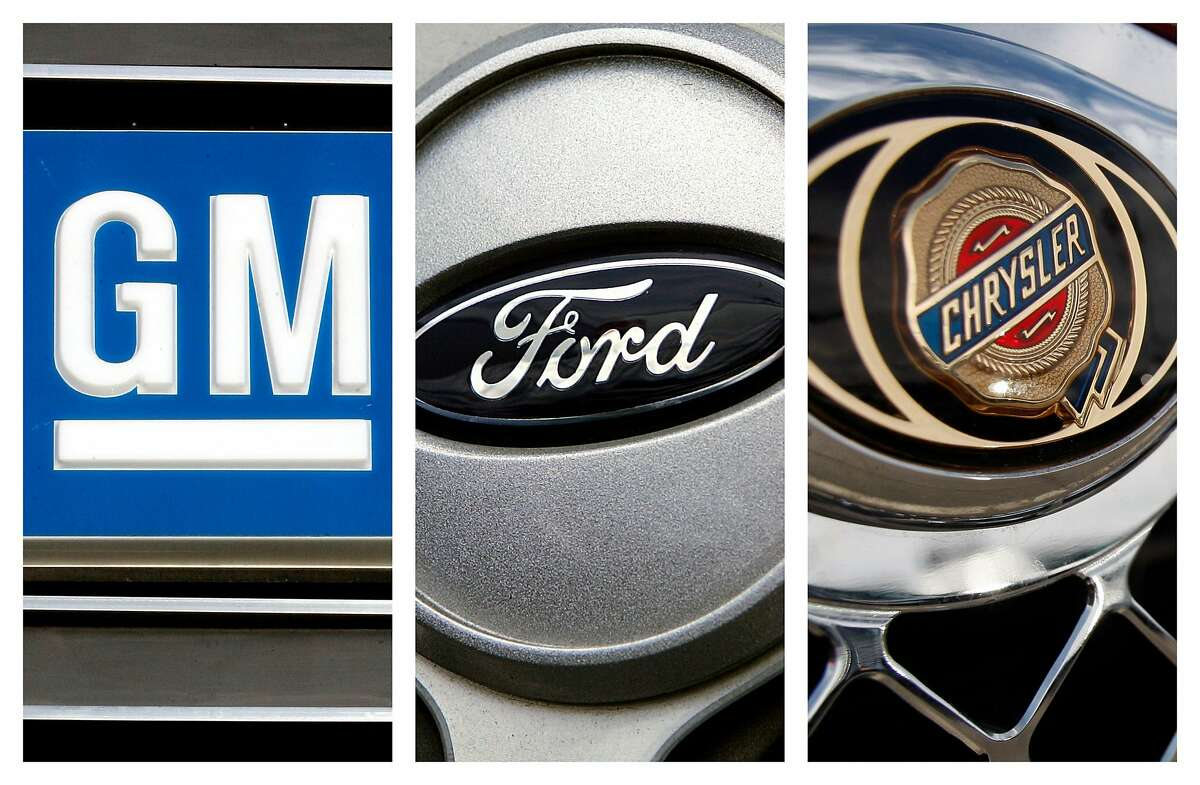 FILE - In this combo made with file photos, logos for the Big Three automobile manufacturers, General Motors, Ford, and Chrysler, are shown. The Detroit Three have made big improvements to new vehicle quality over the last year, but still lag behind their foreign competitors, according to the marketing and consulting company J.D. Power and Associates. (AP File Photos)