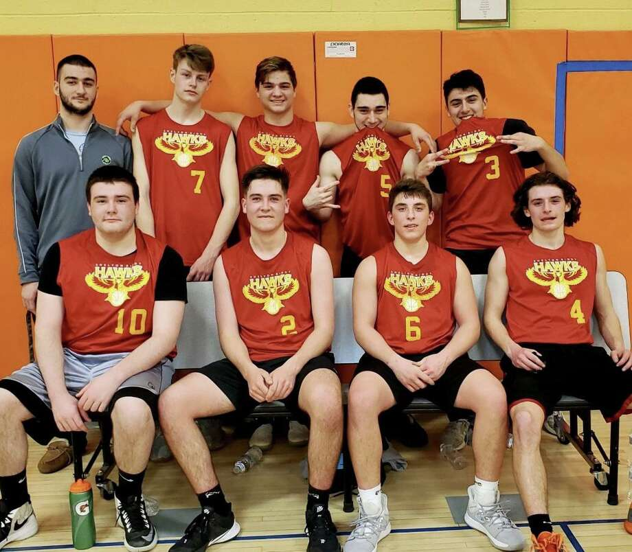 The Hawks won The Senior Cousy basketball championship. Coached by Luke Riccio, who also won a championship in his years playing, the Hawks were led by Michael Wilson, Kyle St. Pierre, Jared Sedlock, and Billy Zaccagnini; (second row) coach Riccio, Conner McGuire, Tim Santos, John Riccio and Chris Zarro. Photo: Contributed Photo / Shelton Recreation Department / Shelton Herald
