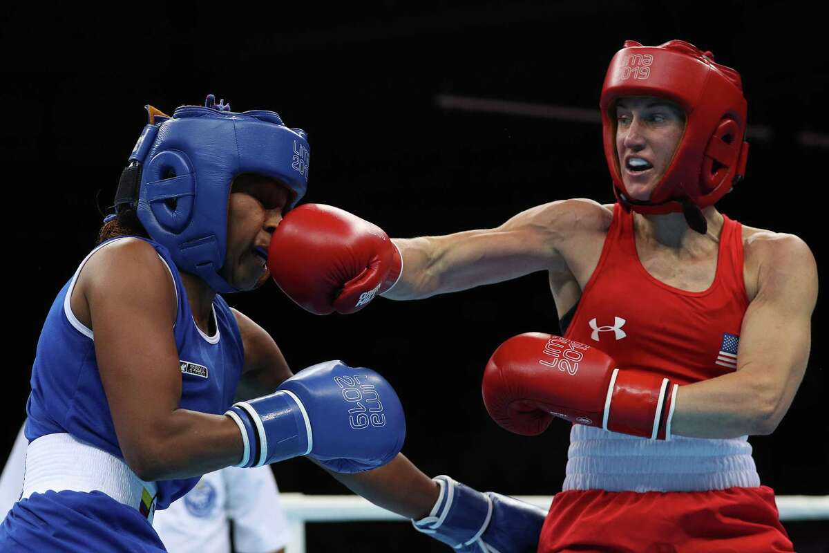 Ginny Fuchs, landing a punch in the Pan American Games last year, is taking to the great outdoors to train for the 2020 Olympics.