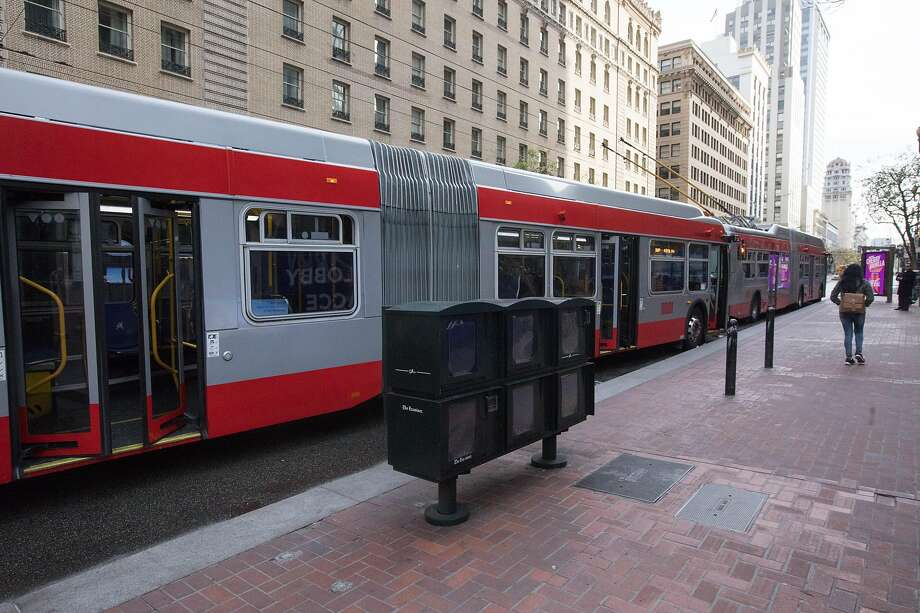 FILE: MUNI buses stop on Market Street during the city's shelter-in-place. Photo: Douglas Zimmerman / SFGate