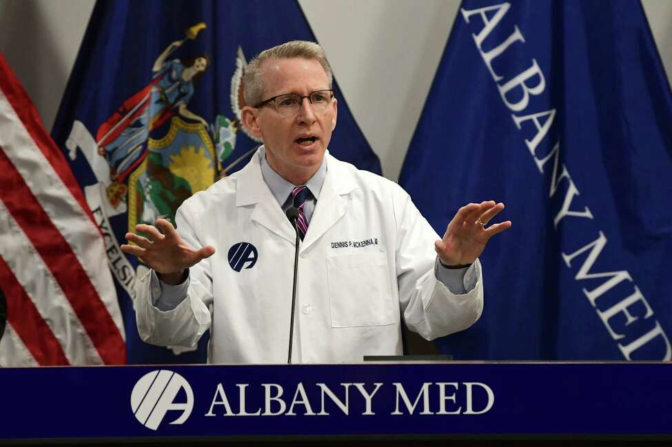 Dennis McKenna, MD, incoming president and CEO Albany Medical Center, talks about how the hospital is dealing with the coronavirus during a press conference at Albany Medical Center on Wednesday, March 18, 2020 in Albany, N.Y. (Lori Van Buren/Times Union)