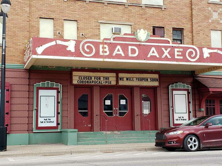 "The Bad Axe Theatre notes its closing for the ""coronapocalypse"" Tuesday afternoon. (Robert Creenan/Huron Daily Tribune)"